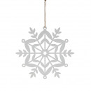 Metal snowflake, for hanging, D21,5cm, white